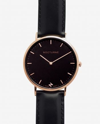 Rose Gold Black – Black Leather (With A Complimentary Pair of Watch Straps)