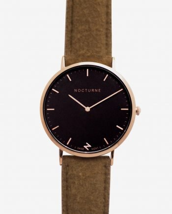 Rose Gold Black – Brown Tweed (With A Complimentary Pair of Watch Straps)