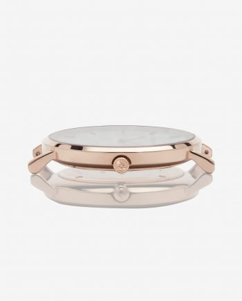 Rose Gold White – Black Leather (With A Complimentary Pair of Watch Straps)