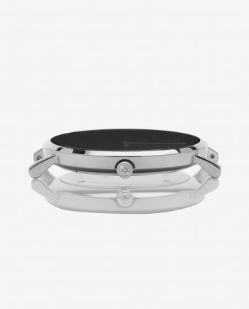 Silver Black – Black Leather (With A Complimentary Pair of Watch Straps)