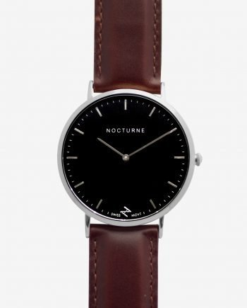 Silver Black – Brown Leather (With A Complimentary Pair of Watch Straps)