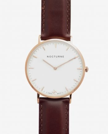 Rose Gold White – Brown Leather (With A Complimentary Pair of Watch Straps)