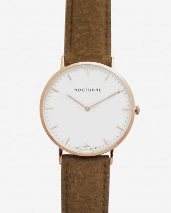 Rose Gold White – Brown Tweed (With A Complimentary Pair of Watch Straps)