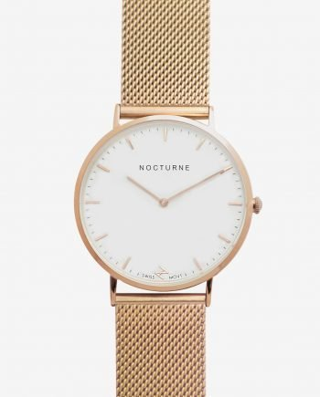 Rose Gold White – Mesh (With A Complimentary Pair of Watch Straps)