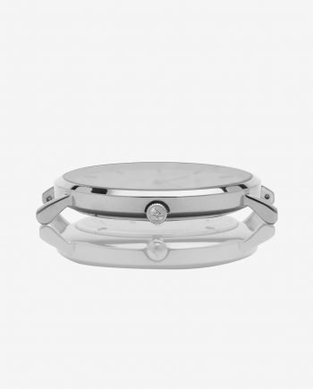 Silver White – Black Leather (With A Complimentary Pair of Watch Straps)